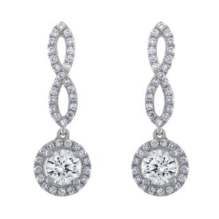 18k White Gold 7/8ct TDW Whtie Diamond Twist Halo Dangle Earrings