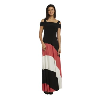 R M Richards Cold-shoulder Maxi Dress