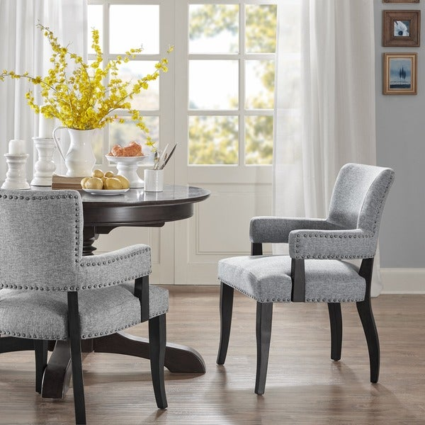 Madison Park Parler Grey Arm Dining Chair Free Shipping