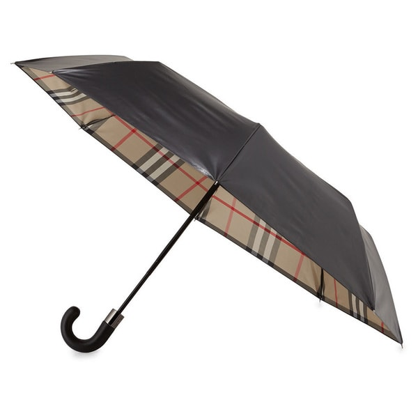 505ad21892b2 Shop Burberry Strand Black Check Umbrella - Free Shipping Today ...