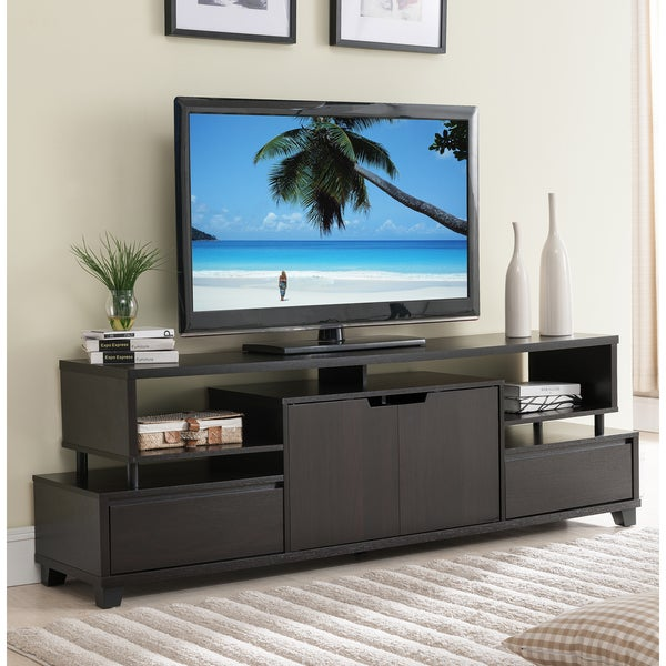 Furniture Of America Alise Modern Tiered Storage Cappuccino 70 Inch TV Stand