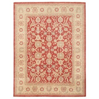 Herat Oriental Afghan Hand-knotted Vegetable Dye Oushak Wool Rug (9'2 x 12'3)