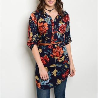 JED Women's Navy Floral Button Down Tunic Shirt with Skinny Belt