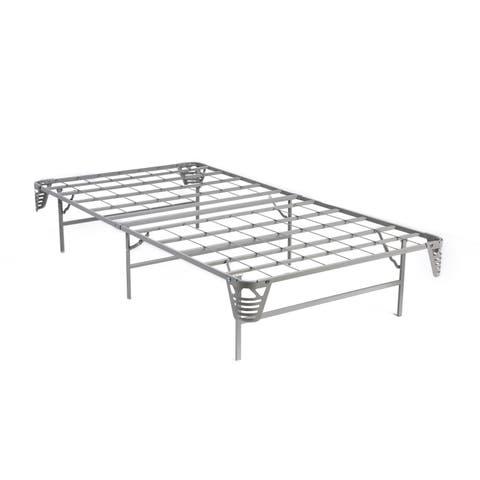 Traditional Silver Platform Bed Frame with Mattress Foundation by FOA