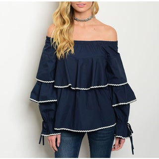 JED Women's Navy Rayon Off-shoulder Ruffled Top