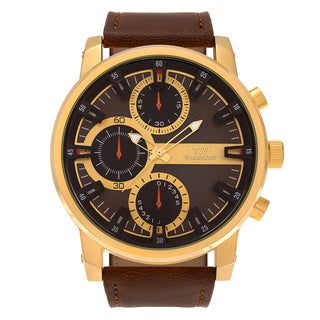 Territory Men's Round Stainless Steel Case Faux Leather Strap Watch - Brown