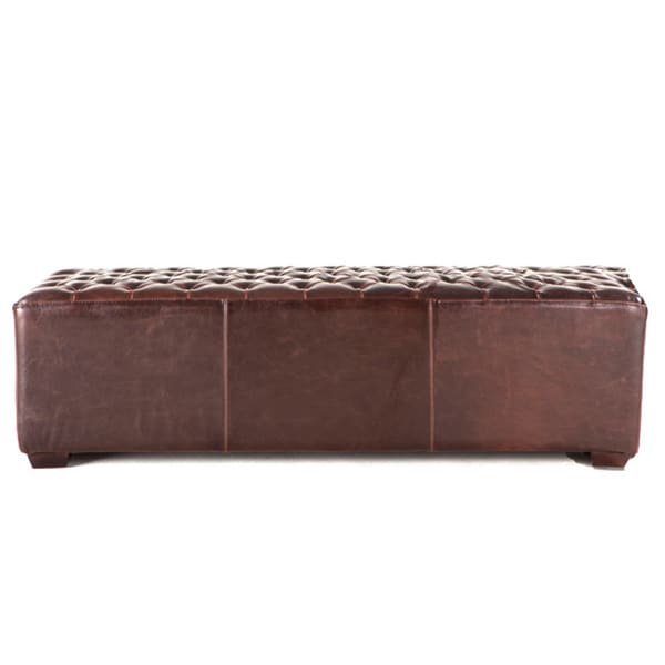 Arabella Tobacco Small Tufted Leather Dining Bench