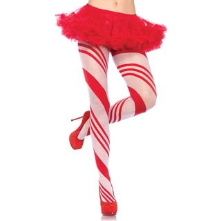 Leg Avenue Red and White Spandex Sheer Candy Striped Pantyhose
