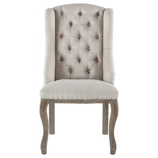 Sheen Off-White Tufted Linen Dining Chair