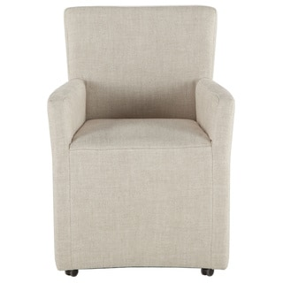 Paddy Off-white Linen Wheeled Arm Chair