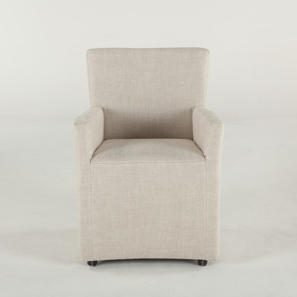 Paddy Off White Linen Wheeled Arm Chair