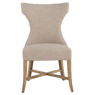 Arabella Beige Linen and Hardwood Dining Chair