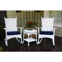 Tortuga Outdoor Classic Coastal White Rocking Chair Set (3-piece)