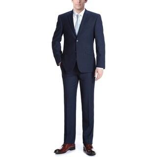 Verno Men's Navy Wool Slim-fit Italian-styled 2-piece Suit