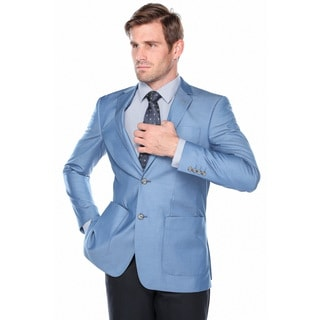 Verno Men's Ocean Blue Slim-fit Pic-stitch Notch-lapel Fashion Blazer