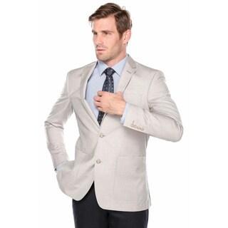Verno Men's Beige Slim-fit Pic-stitch Notch Lapel Fashion Blazer