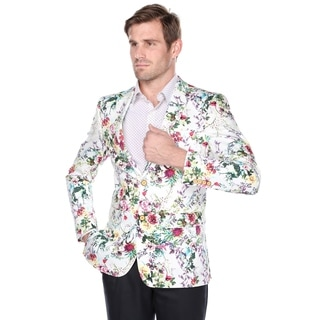 Verno Men's 100-percent Cotton Flower Print Classic fit Notch Lapel Fashion Blazer