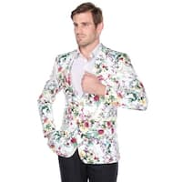 Verno Men's Cotton Flower Print Slim fit Notch Lapel Fashion Blazer
