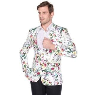 Verno Men's Cotton Flower Print Slim fit Notch Lapel Fashion Blazer