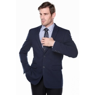 Verno Men's Navy Seersucker Slim Fit Notch Lapel Blazer