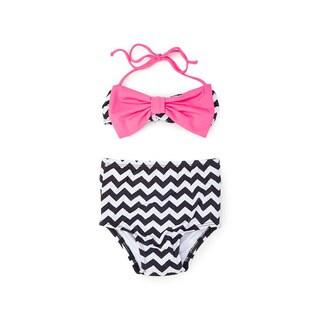 Dippin' Daisy's Girls' Black Nylon, Spandex Chevron High-waist Pink Bow Bandeau Bikini