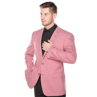 Verno Men's Pink Classic Fit Pic-stitch Notch Lapel Fashion Blazer