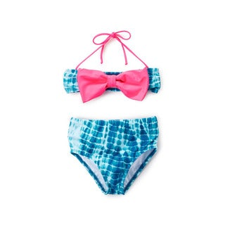 Dippin' Daisy's Girl's Blue Water High-waist Pink-bow Bandeau Bikini