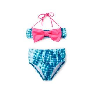 Dippin' Daisy's Girl's Blue Water High-waist Pink-bow Bandeau Bikini