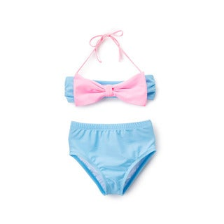 Famous Maker Girls' Blue High-waist Pink Bow Bandeau Bikini