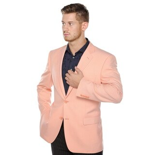 Verno Men's Orange Classic Fit Pic-stitch Notch Lapel Fashion Blazer