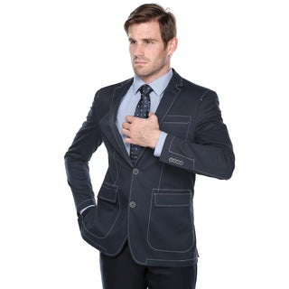 Verno Men's Slim-fit Navy Cotton Sports Coat