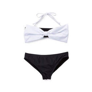 Dippin' Daisy's Girls' Black and White Bow Bandeau Bikini