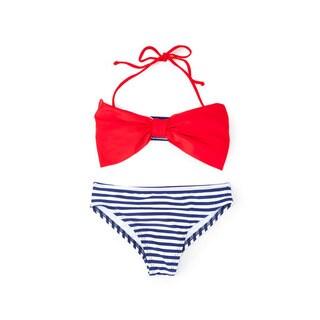 Famous Maker Girls' Navy Stripe Bow Bandeau Bikini