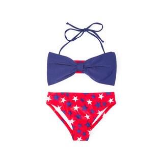 Famous Maker Girl's Red Nylon and Spandex Patriot Bow Bandeau Bikini