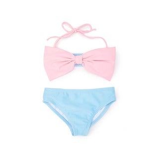 Girls' Blue and Pink Nylon and Spandex Bow Bandeau Bikini