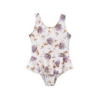 Dippin' Daisy's Girls' White Shells 1-piece Swimdress