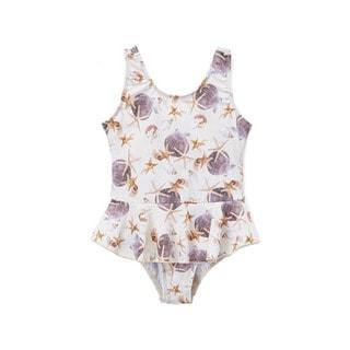 Dippin' Daisy's Girls' White Shells 1-piece Swimdress