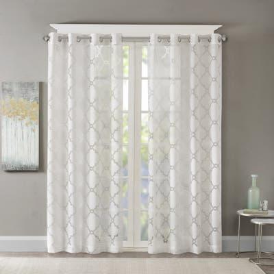 Madison Park Laya Fretwork Burnout Sheer Curtain Panel