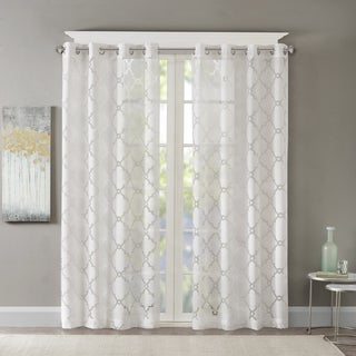 Link to Madison Park Laya Fretwork Burnout Sheer Curtain Panel Similar Items in Window Treatments