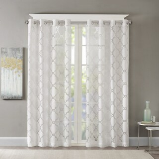 Madison Park Laya Fretwork Burnout Rayon Blend Sheer Curtain Panel