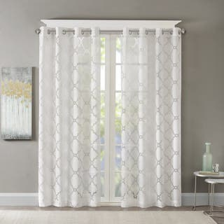Madison Park Laya Fretwork Burnout Sheer Curtain Panel