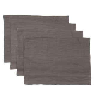 Cottage Home Liam Charcoal Blue Linen Placemats (Pack of 4)