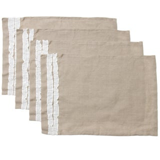 Cottage Home Natural Tan Linen Ruffled Placemats (Pack of 4)
