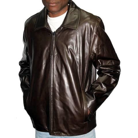 Andrew Marc Men's Brown Genuine Leather Open-bottom Medium-size Jacket
