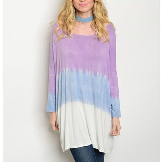 JED Women's Tie Dye Rayon and Spandex Scoop-neck Tunic Top