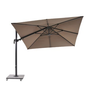 Palermo 10' Umbrella Lava Frame with Mouse Grey Fabric and Granite Base