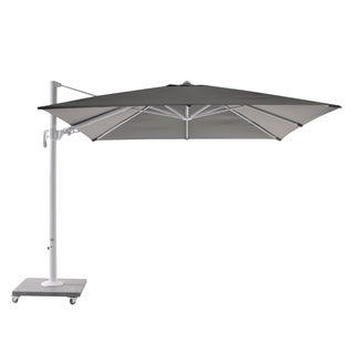 Palermo 10' Umbrella White Frame with Mouse Grey Fabric and Granite Base
