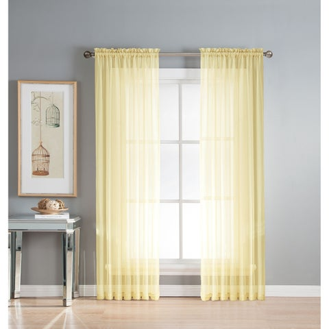 Window Elements Diamond Sheer Voile 56 x 63 in. Rod Pocket Curtain Panel - 56 x 63