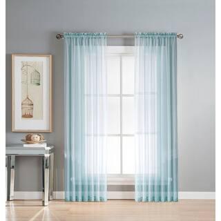 Window Elements Diamond Sheer Voile 56 X 63 In Rod Pocket Curtain Panel