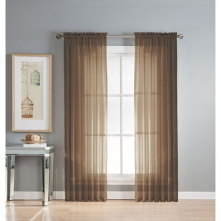 Window Elements Diamond Sheer Voile 56 x 63 in. Rod Pocket Curtain Panel - 56 x 63 (Option: Chocolate)